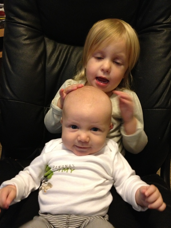 Which comes in handy when your firstborn uses the baby's head like a bongo drum.