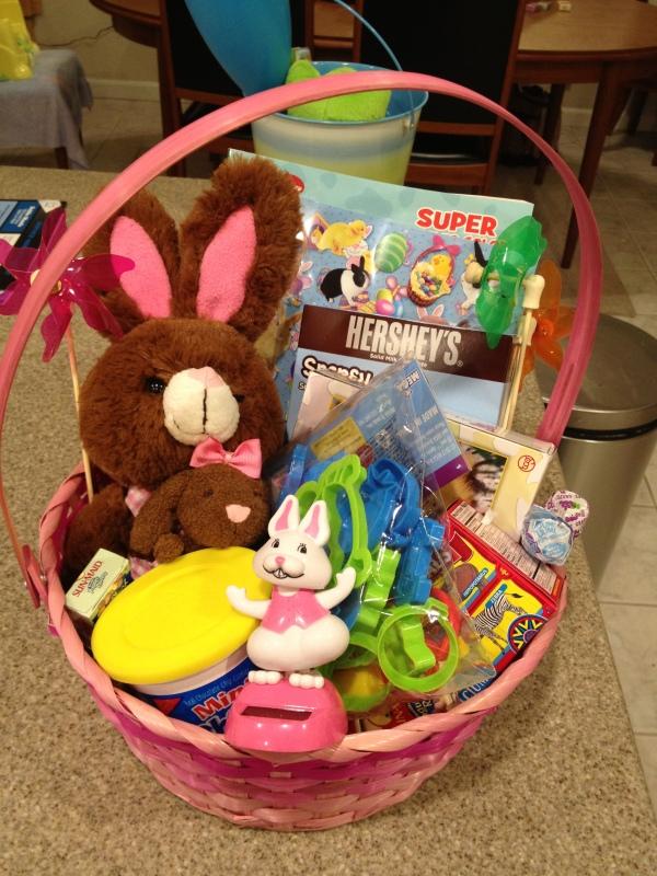 V's basket once assembled.